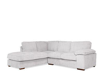 Cassie Grey Cord Fabric L Shape Corner Sofa - LHF
