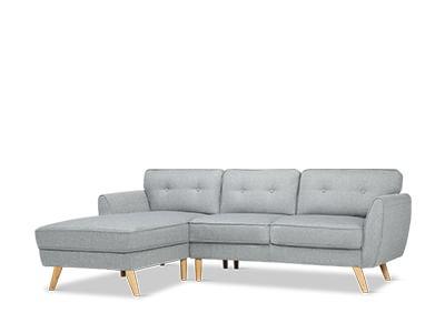 Harlow Light Grey L Shaped Sofa