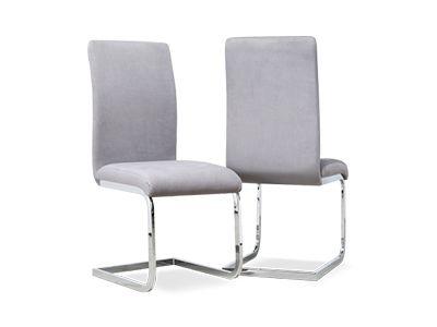 Perth Grey Velvet Dining Chair (Chrome Leg)