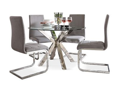 Plaza Round Chrome and Glass Dining Table with 4 Perth Grey Velvet Chairs