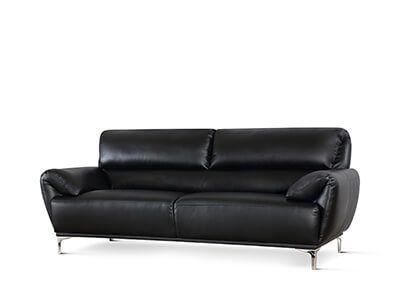Enzo Black Leather 3 Seater Sofa