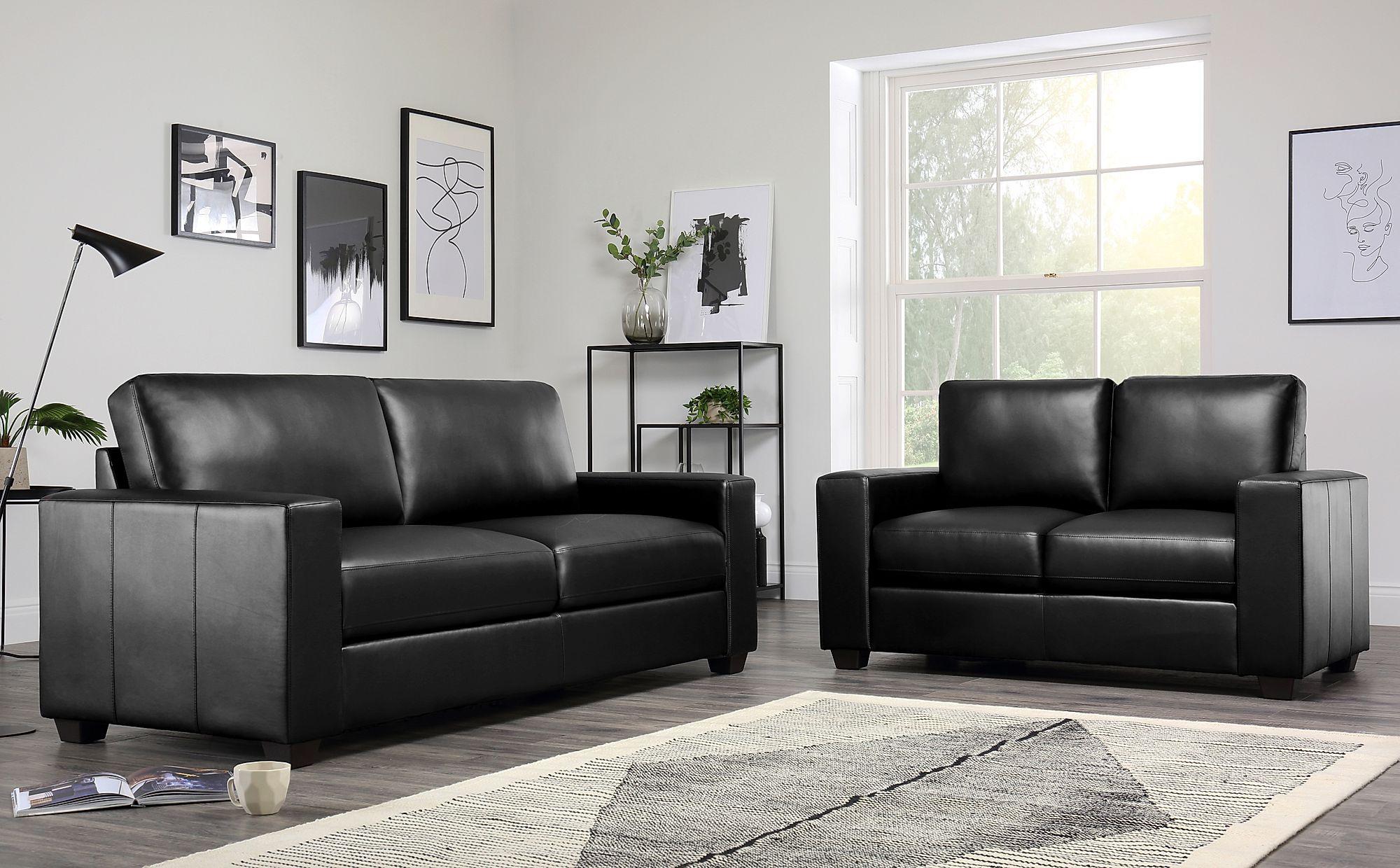 Mission Black Leather 3+2 Seater Sofa Set