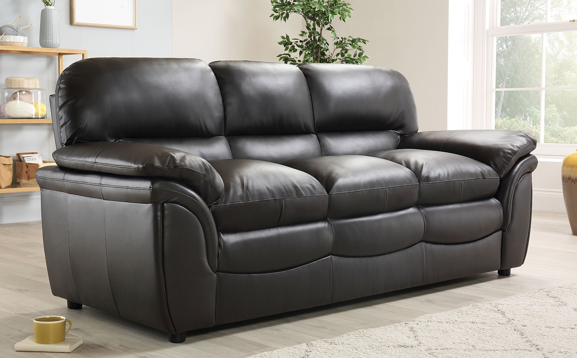Rochester brown leather sofa sofas group settee unit range - Living room furniture rochester ny ...
