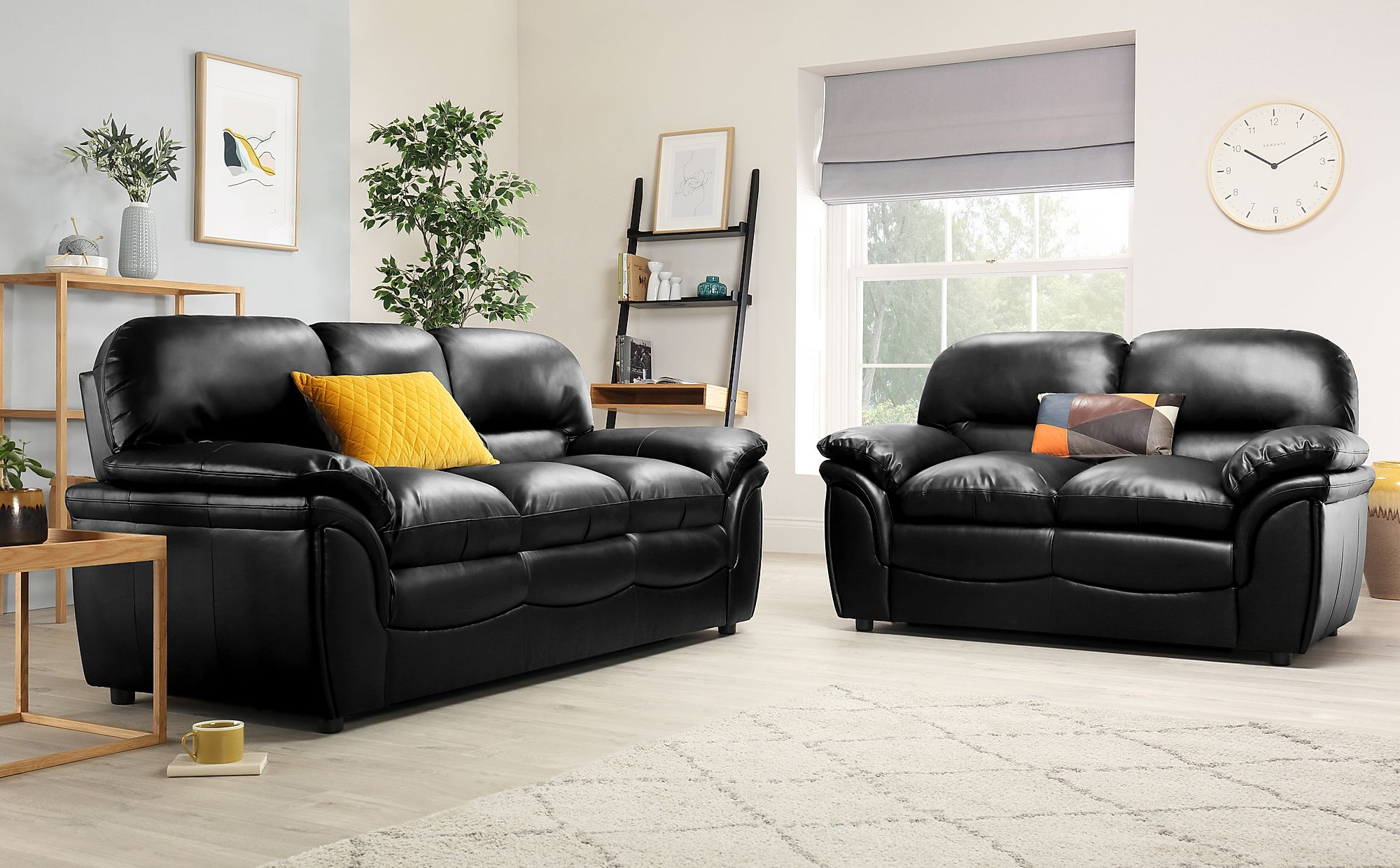 Strange Rochester Black Leather 3 2 Seater Sofa Set Pdpeps Interior Chair Design Pdpepsorg