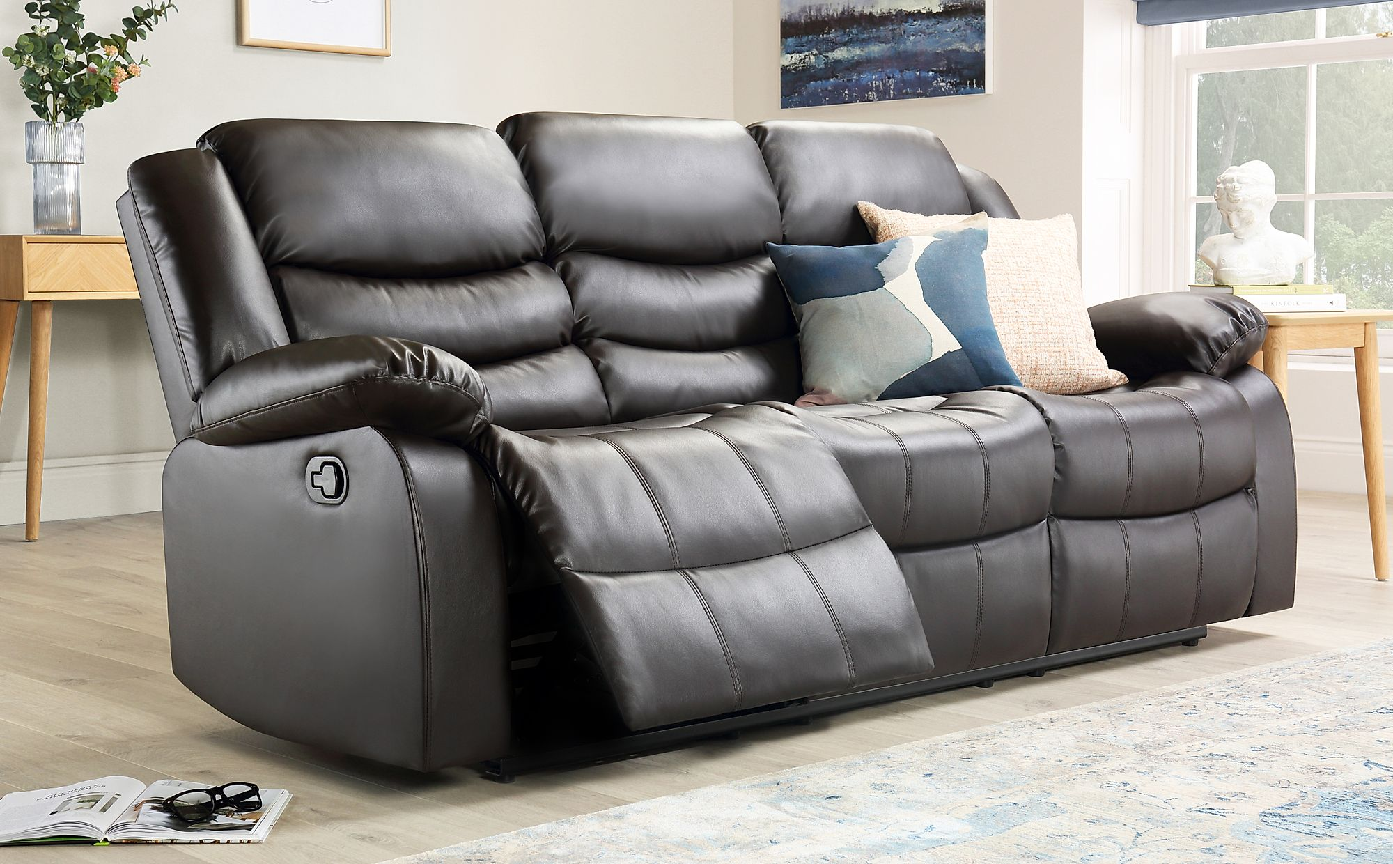 Sorrento Brown Leather 3 Seater Recliner Sofa Furniture