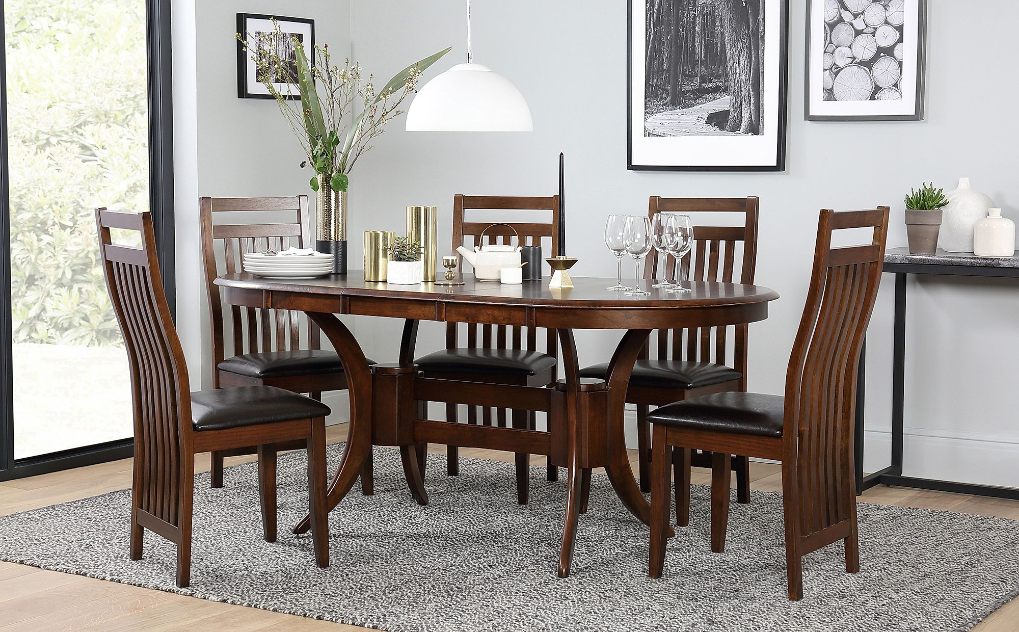 Townhouse Oval Dark Wood Extending Dining Table - with 6 Java Chairs
