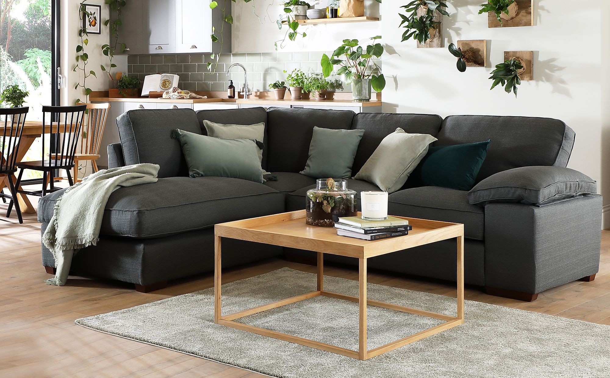 newest ef7b2 422ce Cassie Charcoal Fabric L Shape Corner Sofa - LHF