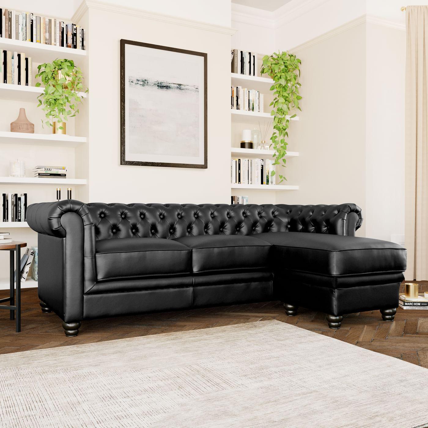 Hampton Chesterfield Black Leather Corner Sofa L Shape