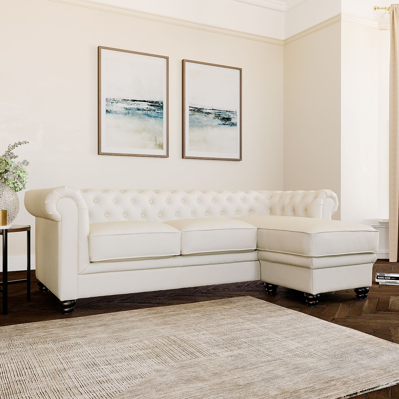 Hampton Ivory Leather L Shape Chesterfield Corner Sofa ...