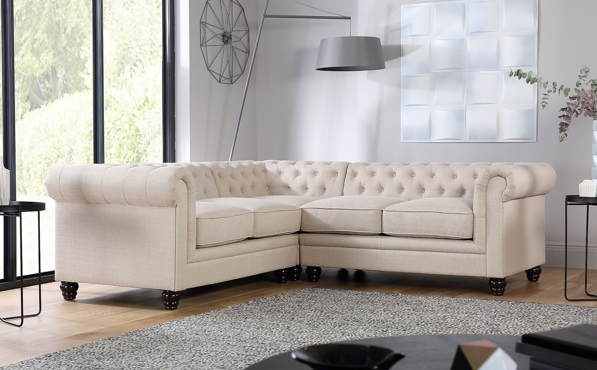 Hampton Oatmeal Fabric Chesterfield Corner Sofa