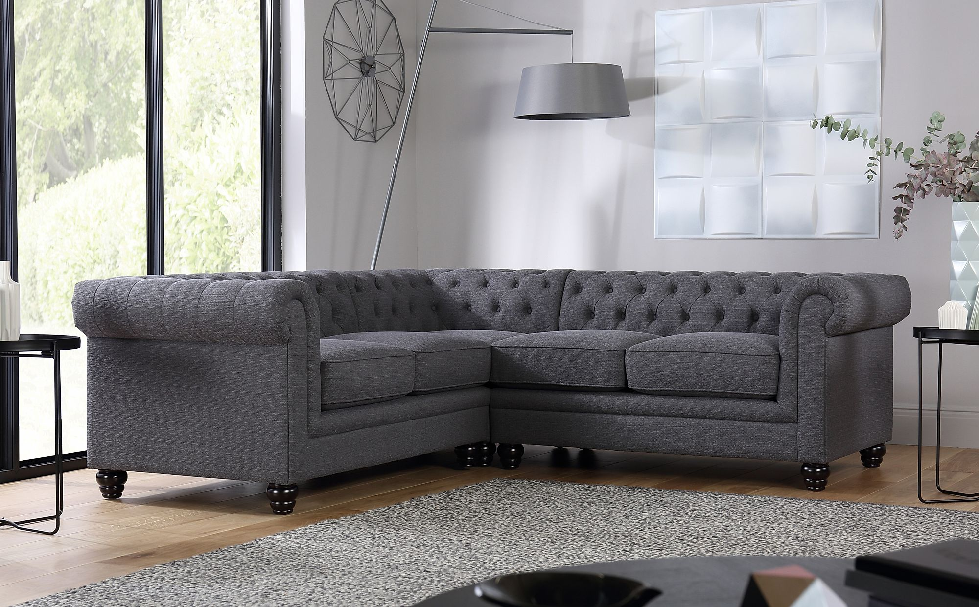 Hampton Slate Fabric Chesterfield Corner Sofa Furniture