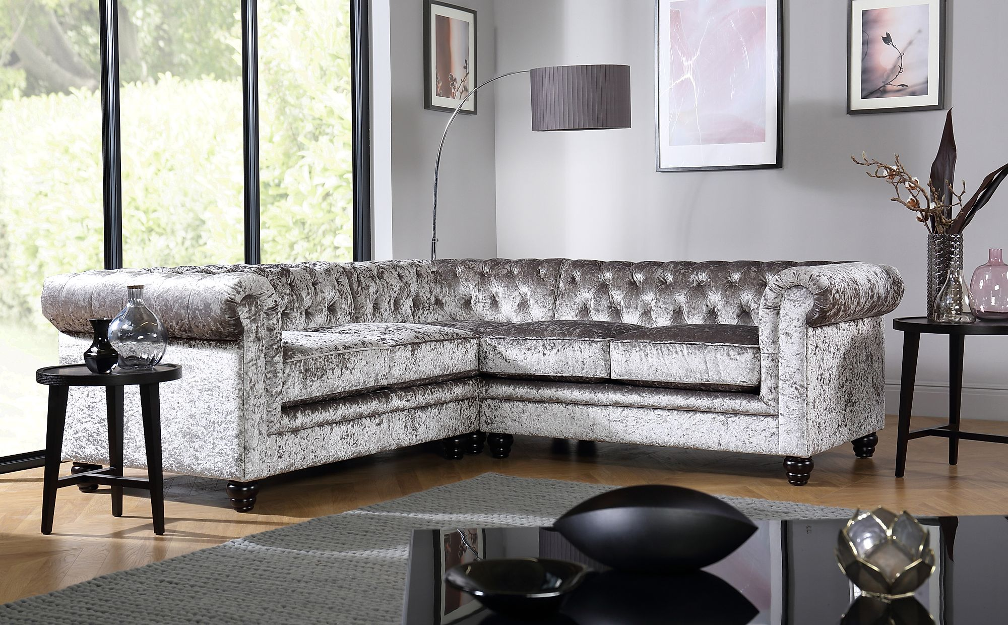 Exceptional Gallery. Hampton Silver Crushed Velvet Chesterfield Corner Sofa