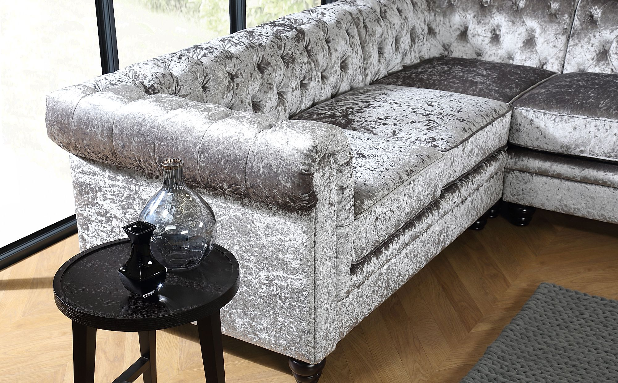 Hampton Silver Crushed Velvet Chesterfield Corner Sofa Only 1199 99