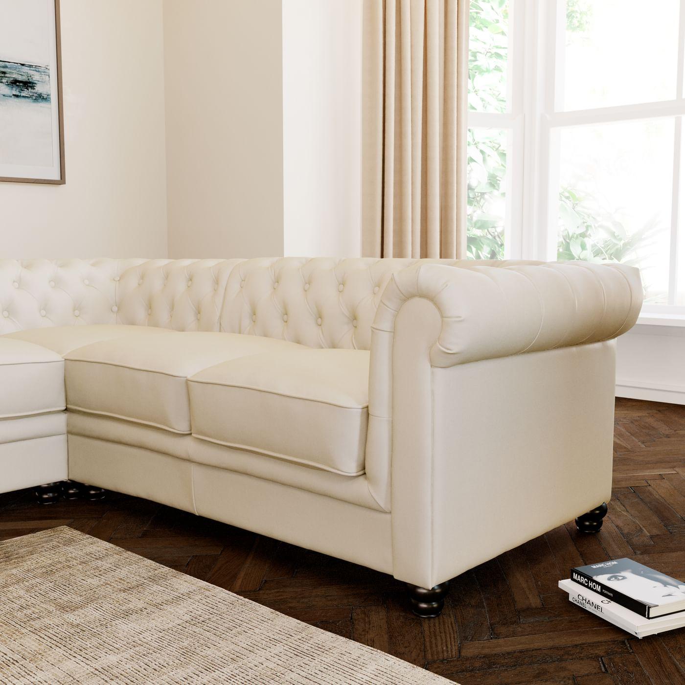 Amazing White Leather Chesterfield Corner Sofa Baci Living Room Inzonedesignstudio Interior Chair Design Inzonedesignstudiocom