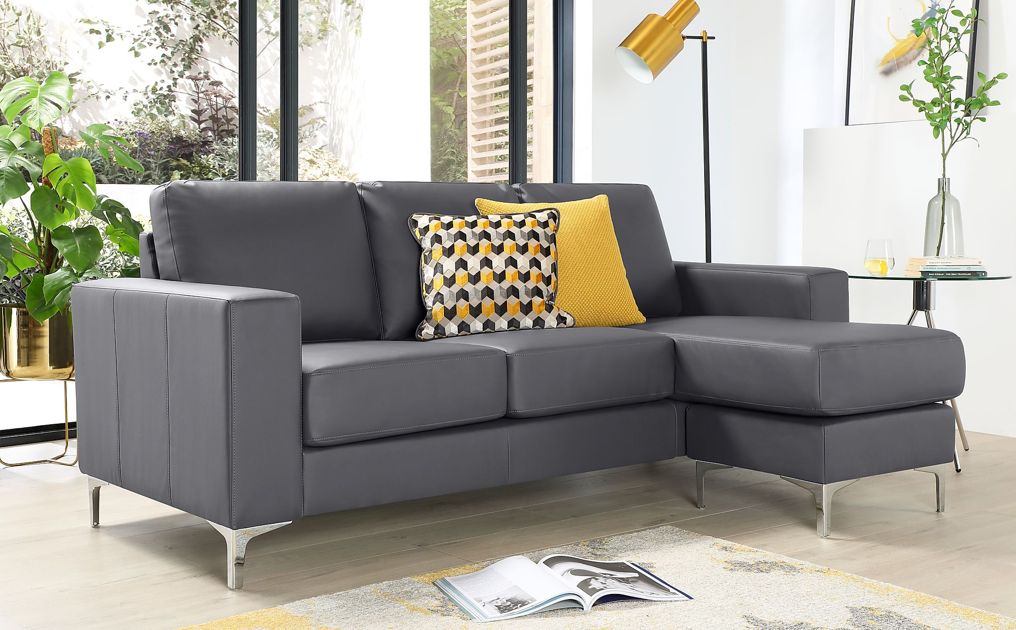 Baltimore Grey Leather L Shape Corner Sofa