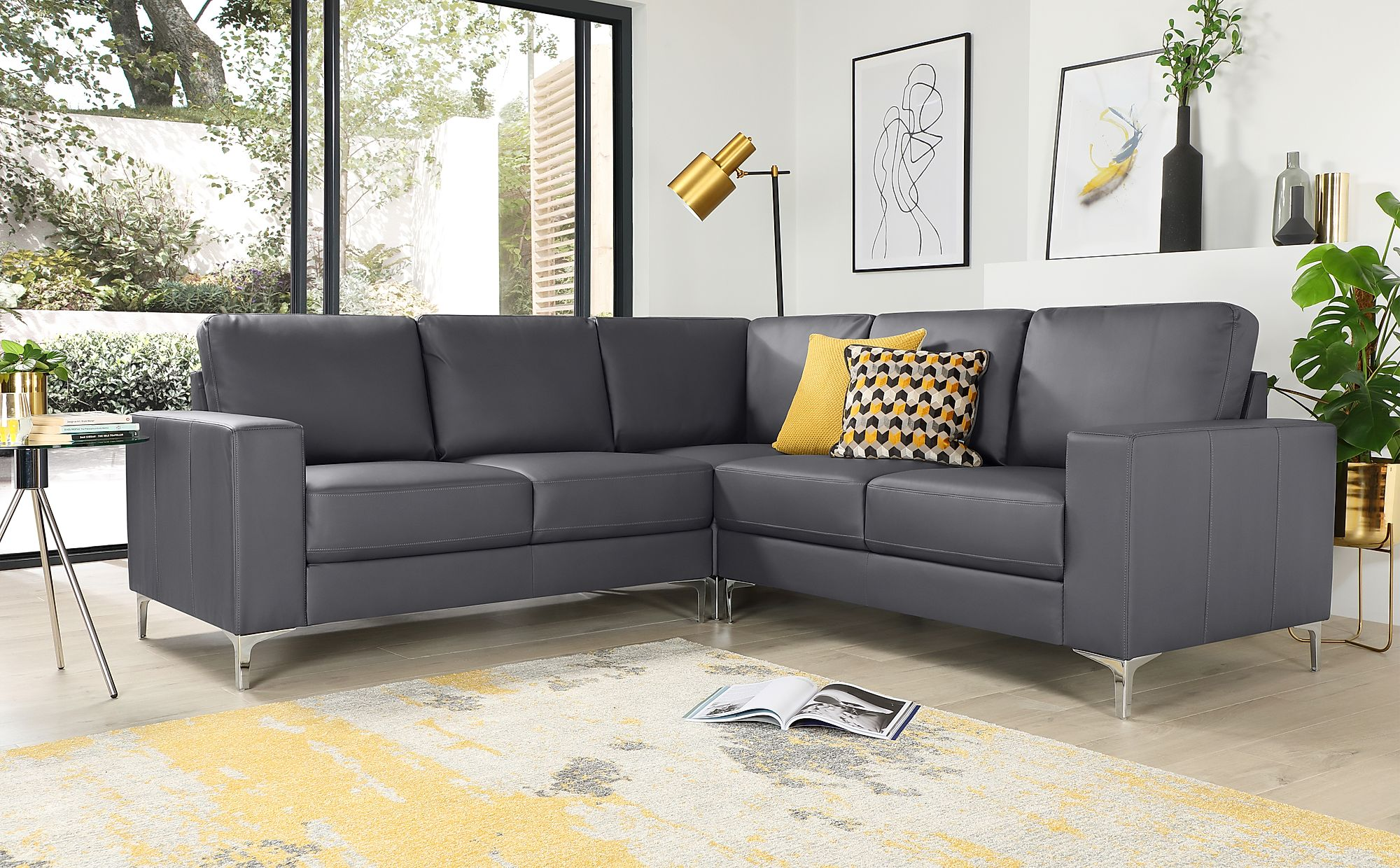 Delicieux Baltimore Grey Leather Corner Sofa ...