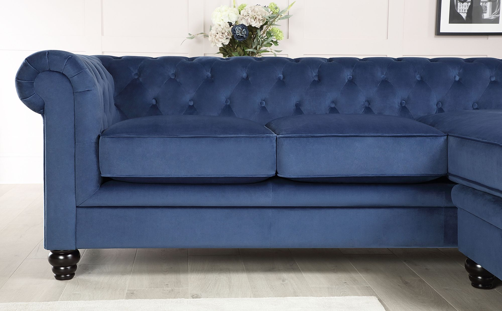 Hampton Blue Velvet L Shape Chesterfield Corner Sofa