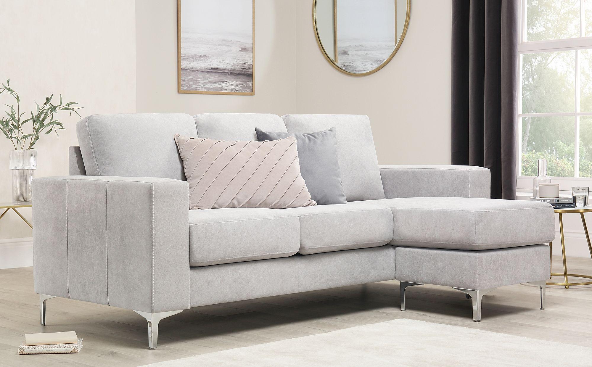 Baltimore Dove Grey Plush Fabric L Shape Corner Sofa