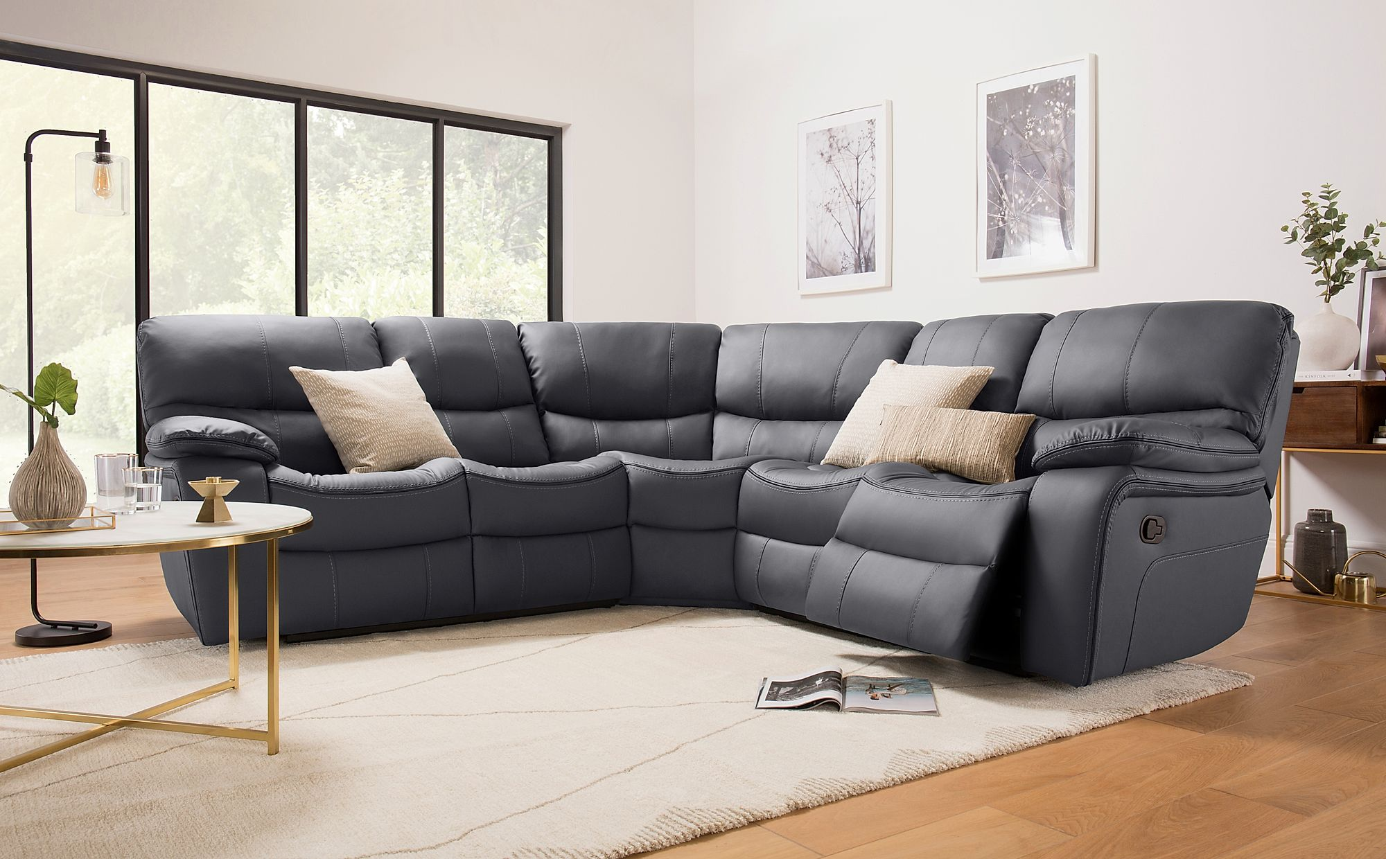 Astounding Beaumont Grey Leather Recliner Corner Sofa Download Free Architecture Designs Sospemadebymaigaardcom