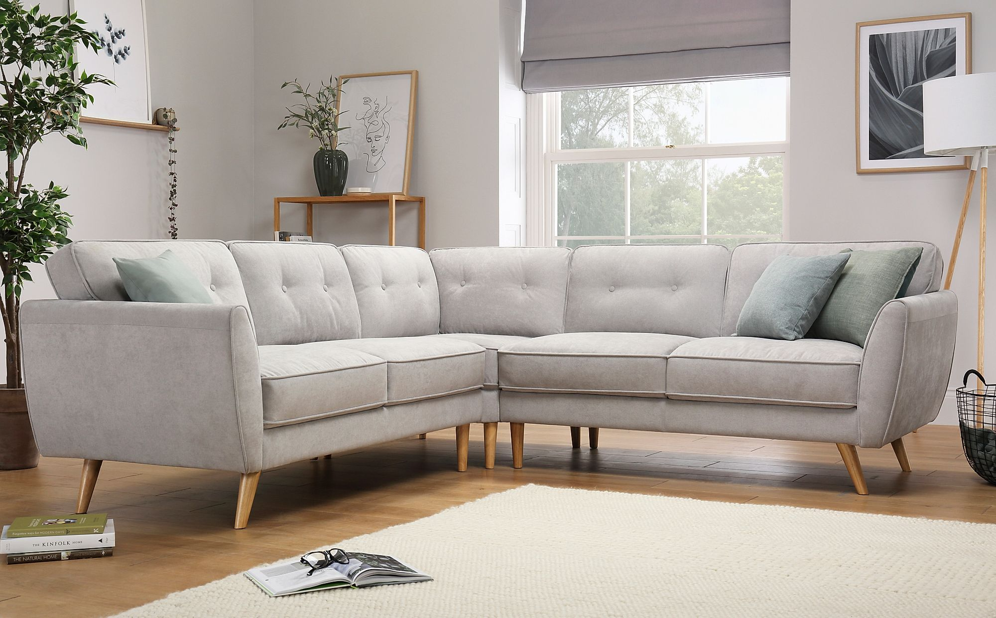 Harlow Dove Grey Plush Fabric Corner Sofa   Furniture Choice