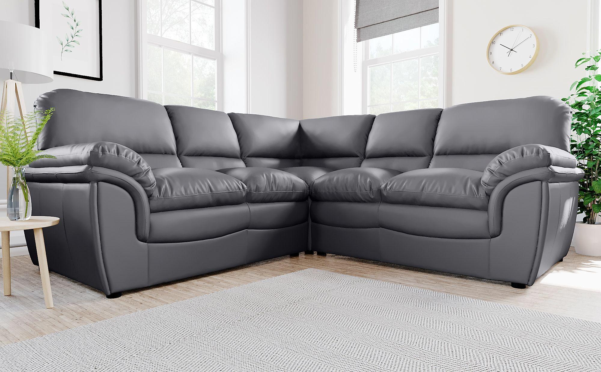 Rochester Grey Leather Corner Sofa