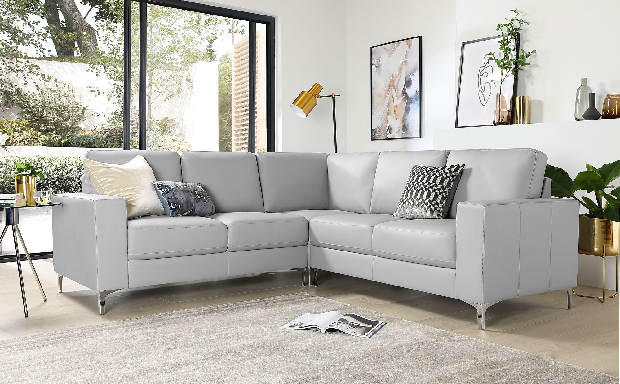 Baltimore Light Grey Leather Corner Sofa Furniture Choice