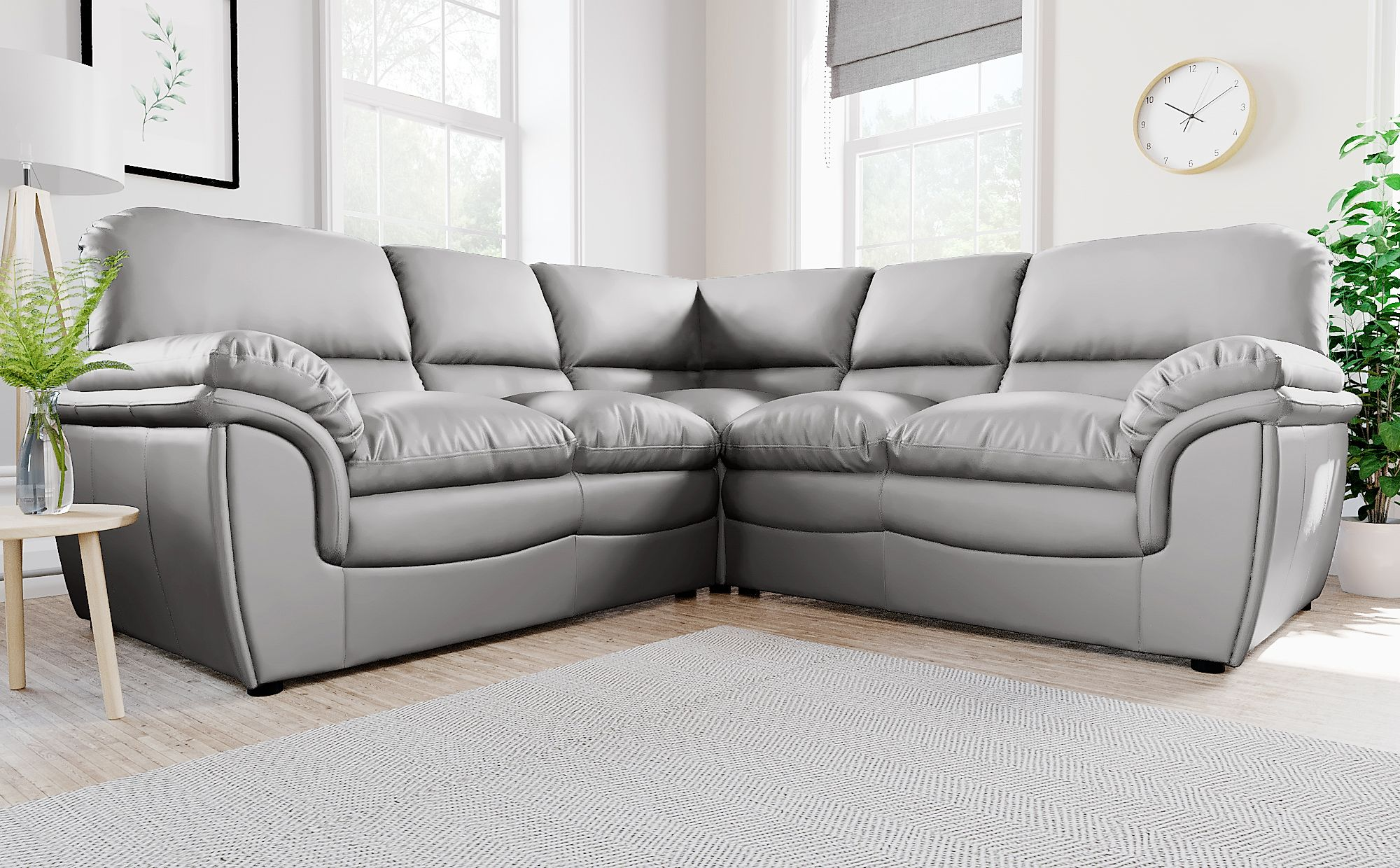 - Rochester Light Grey Leather Corner Sofa Furniture Choice