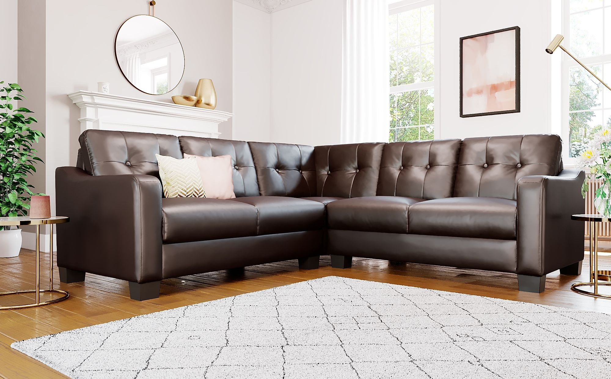 Belmont Brown Leather Corner Sofa | Furniture Choice