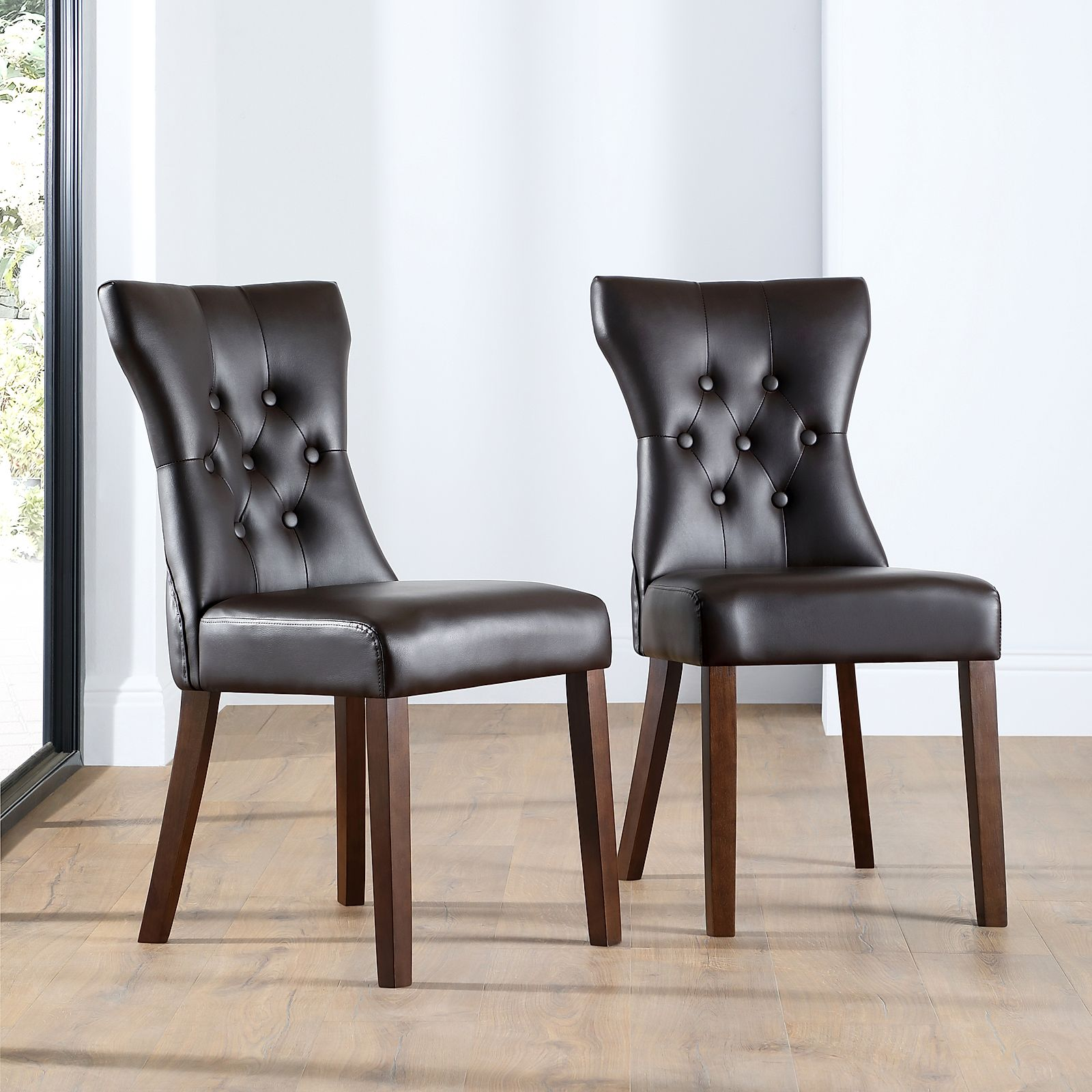 Amazing Bewley Dark Brown Leather Button Back Dining Chair (Wenge Leg)