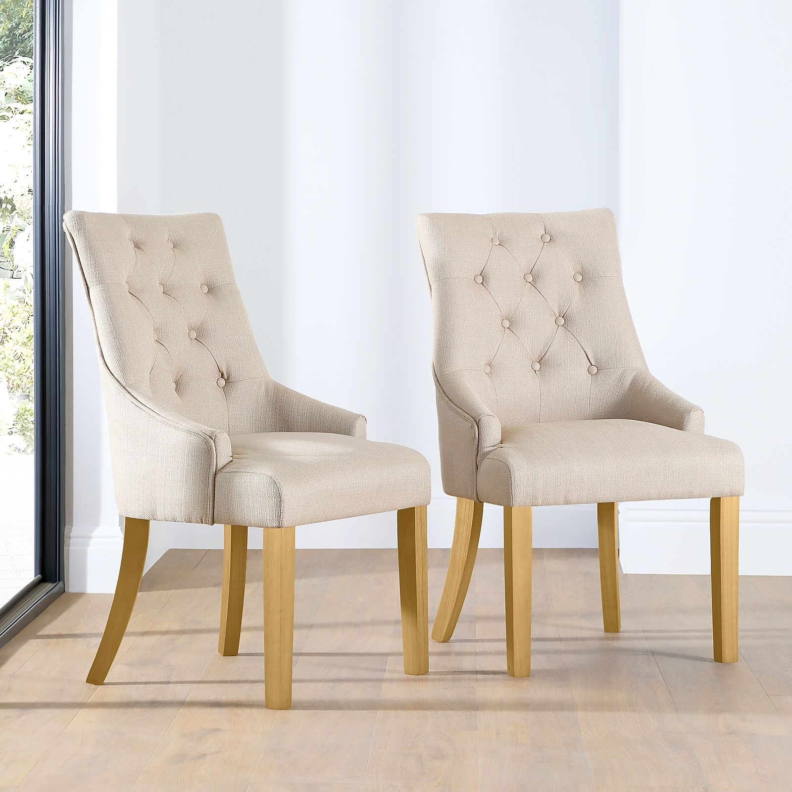 Duke Fabric Button Back Dining Chair Oatmeal (Oak Leg) ...