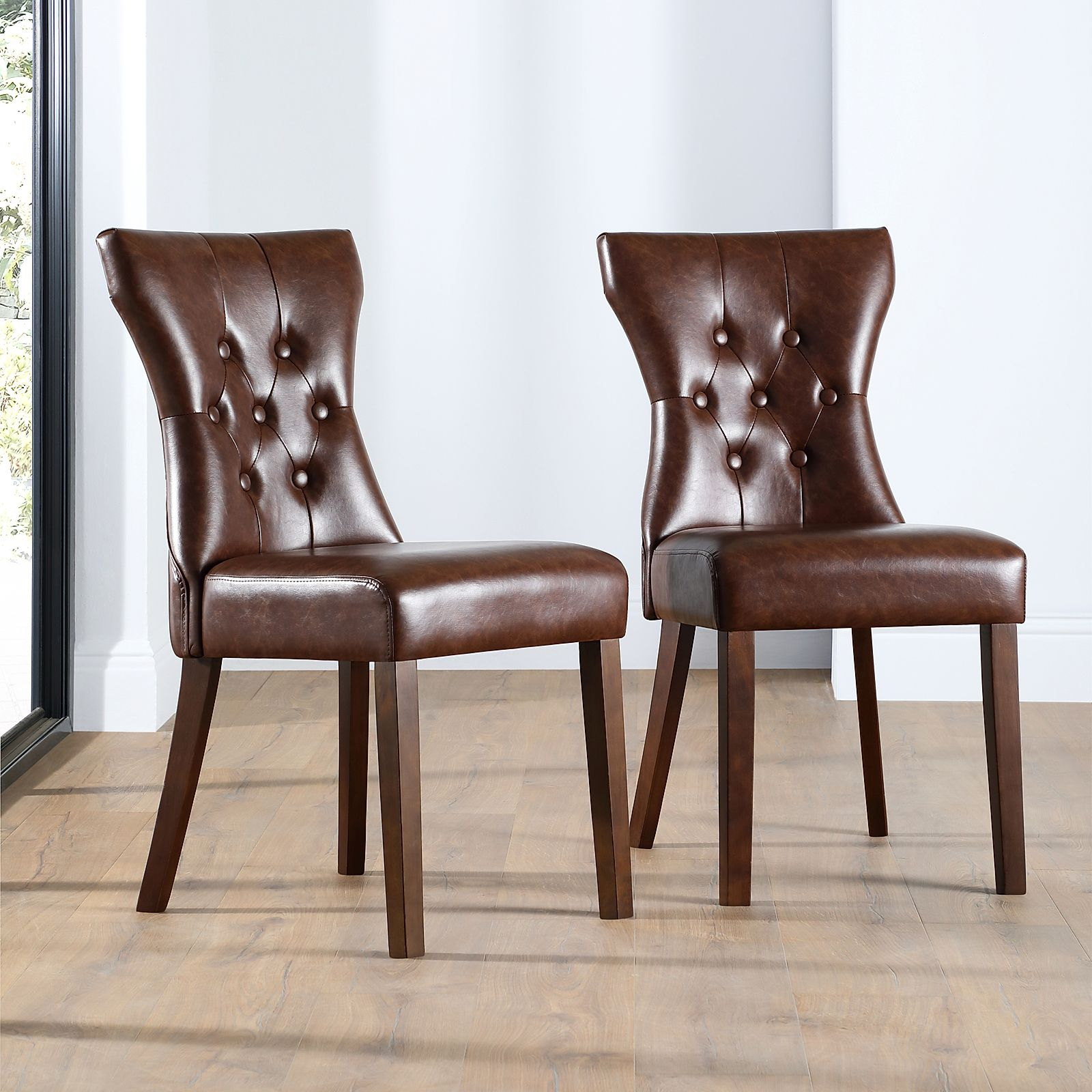 Bewley Leather Button Back Dining Chair Club Brown Dark