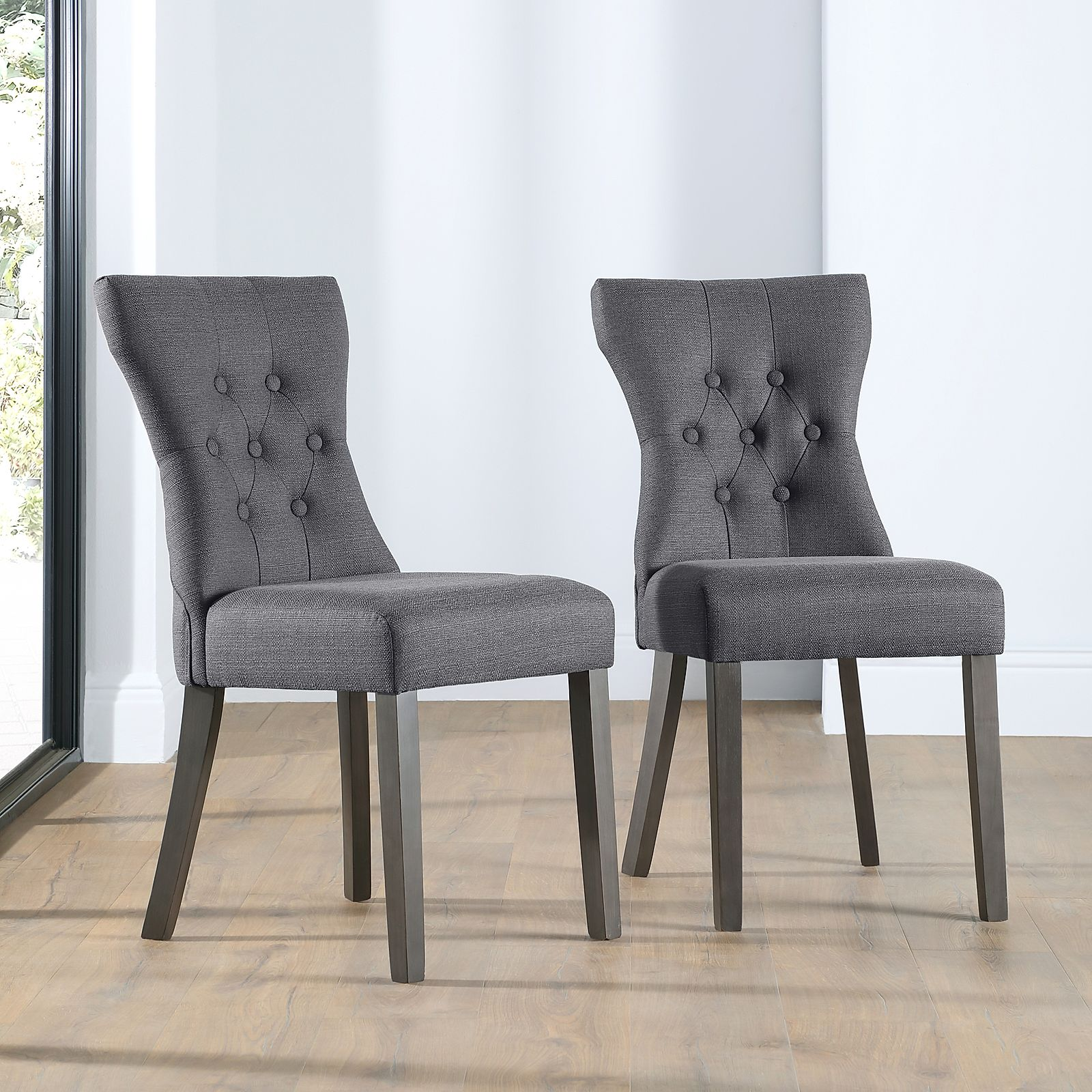 Bewley Slate Fabric Button Back Dining Chair Grey Leg ...
