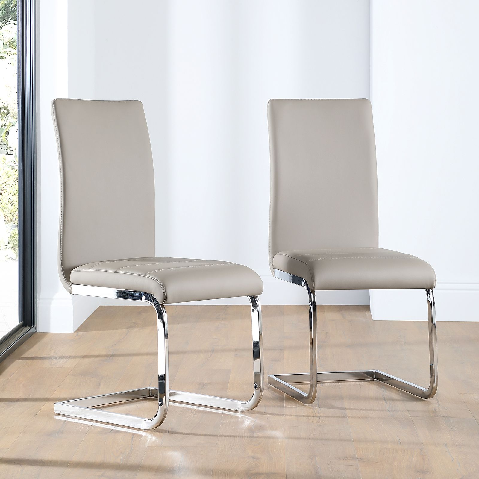 Perth Leather Dining Chair Taupe Furniture Choice