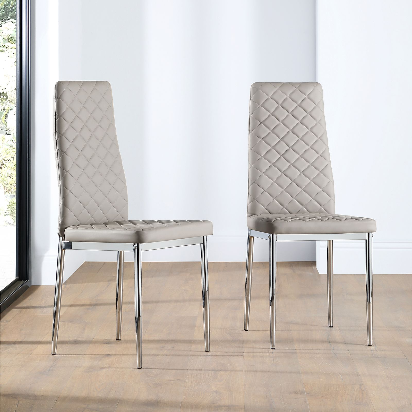 Renzo Leather Dining Chair Taupe Chrome Leg Furniture