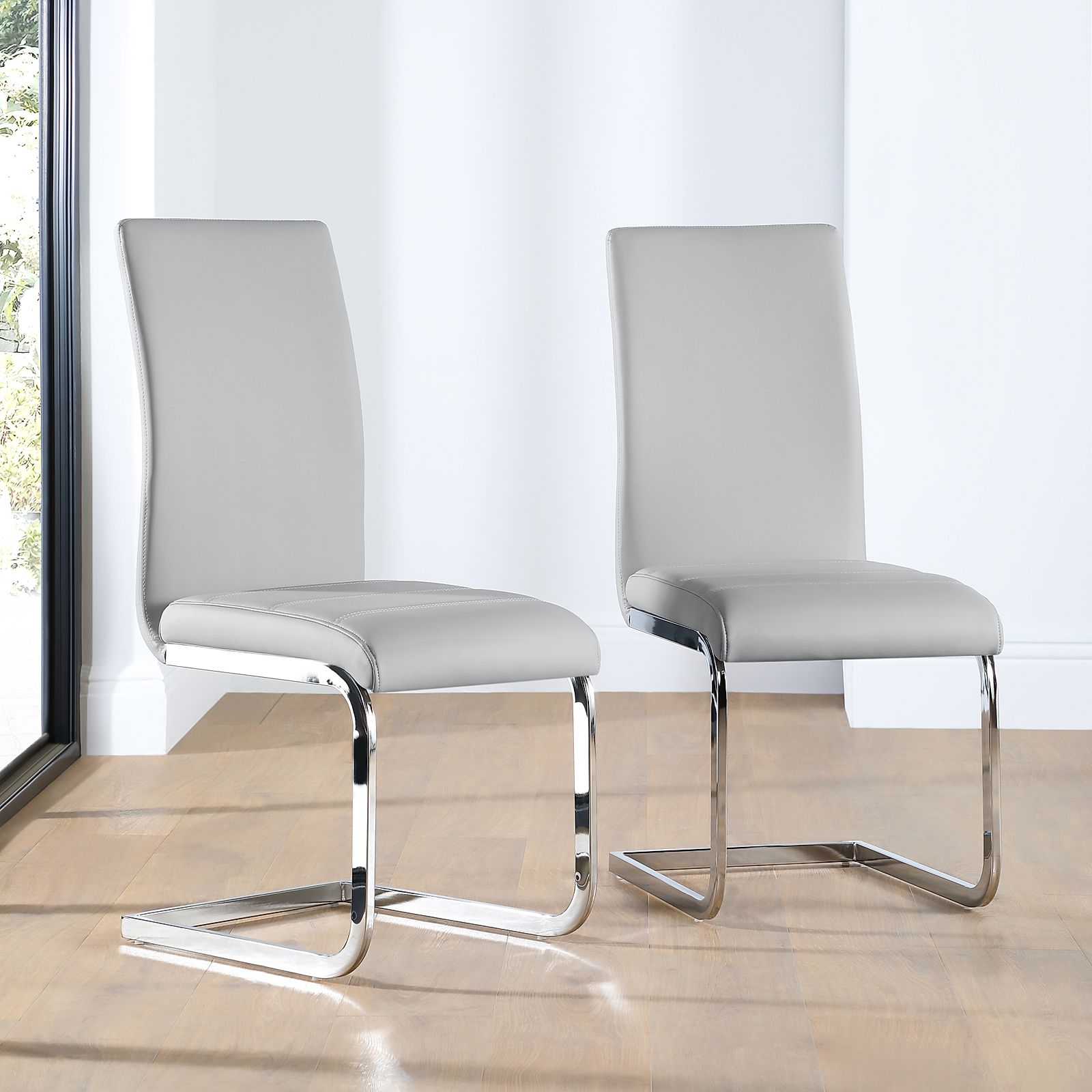 Perth Leather Dining Chair Light Grey Furniture Choice