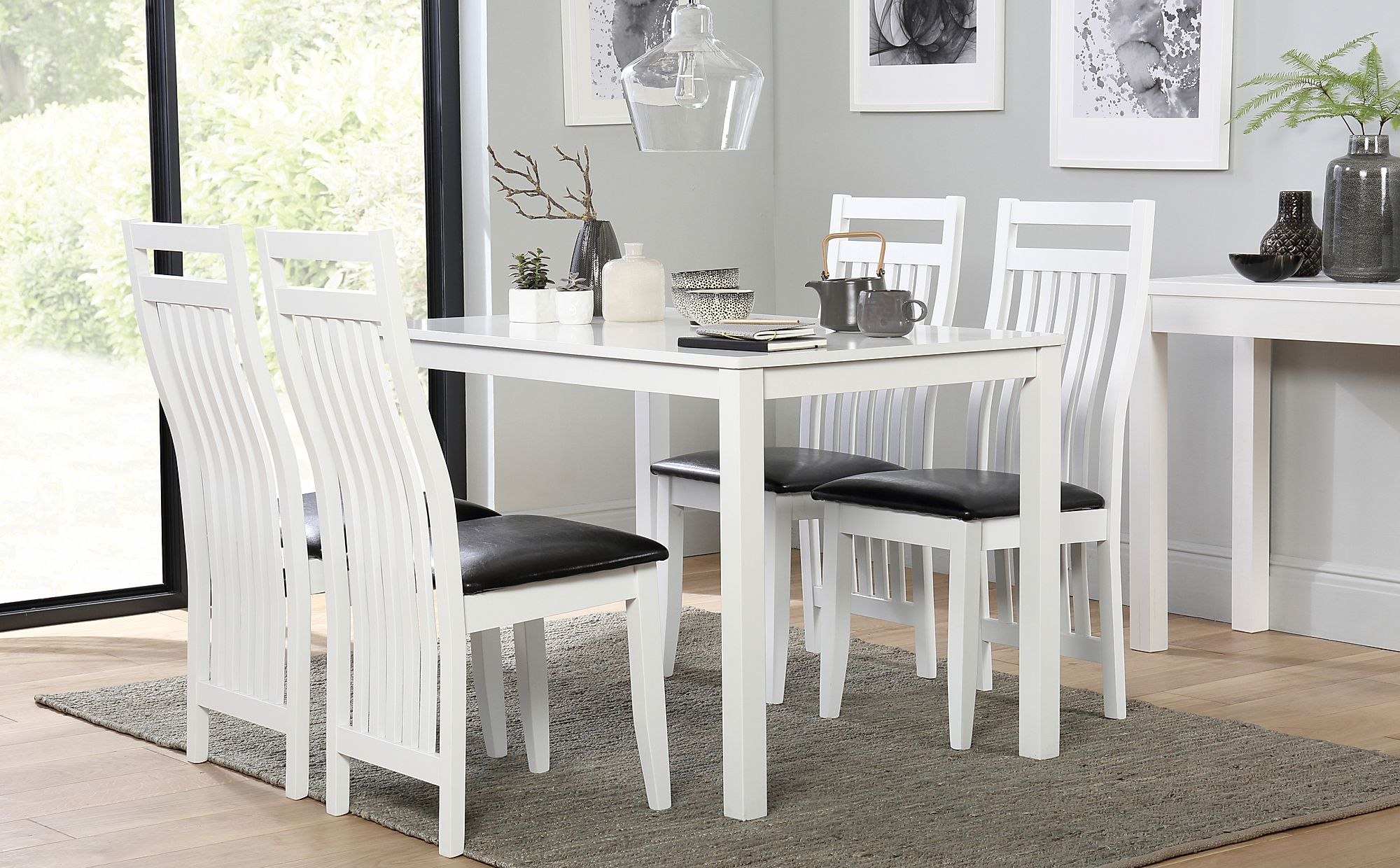 White Table And Chairs Set: Milton White Dining Table And 4 Java Chairs Set Only £299