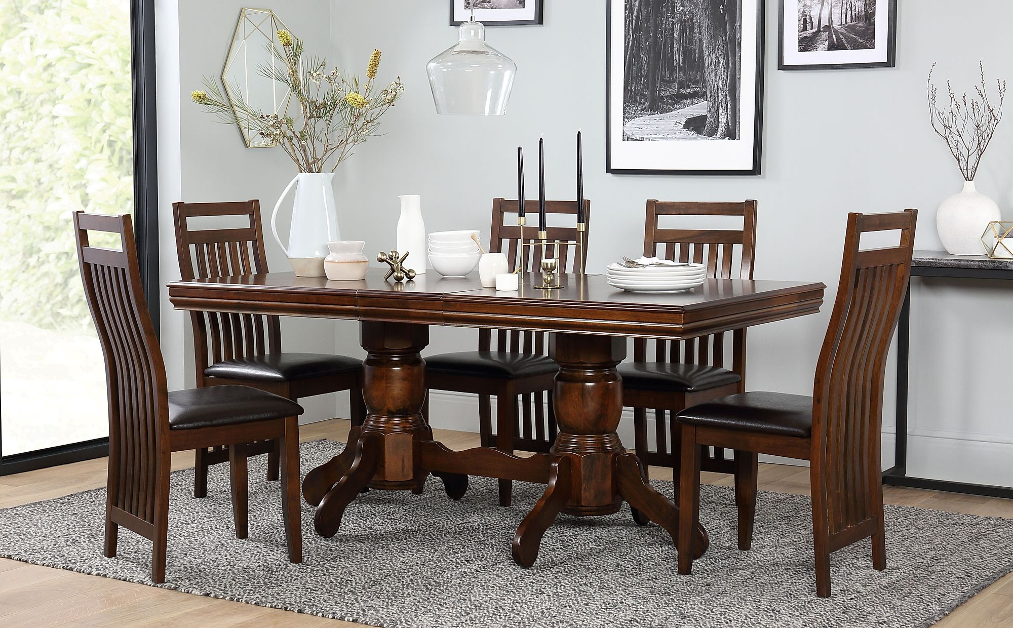 Chatsworth Extending Dark Wood Dining Table And 6 Java Chairs Set
