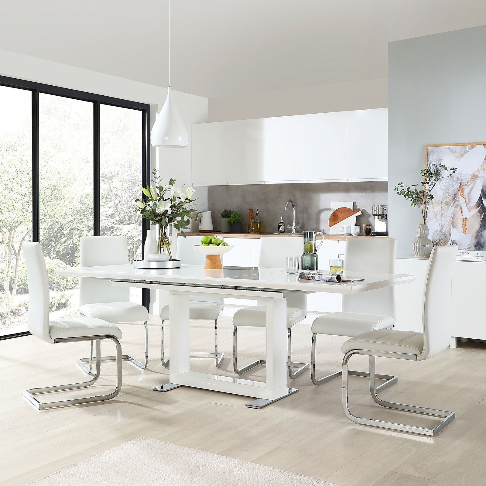 Gallery Tokyo White High Gloss Extending Dining Table With 4 Perth