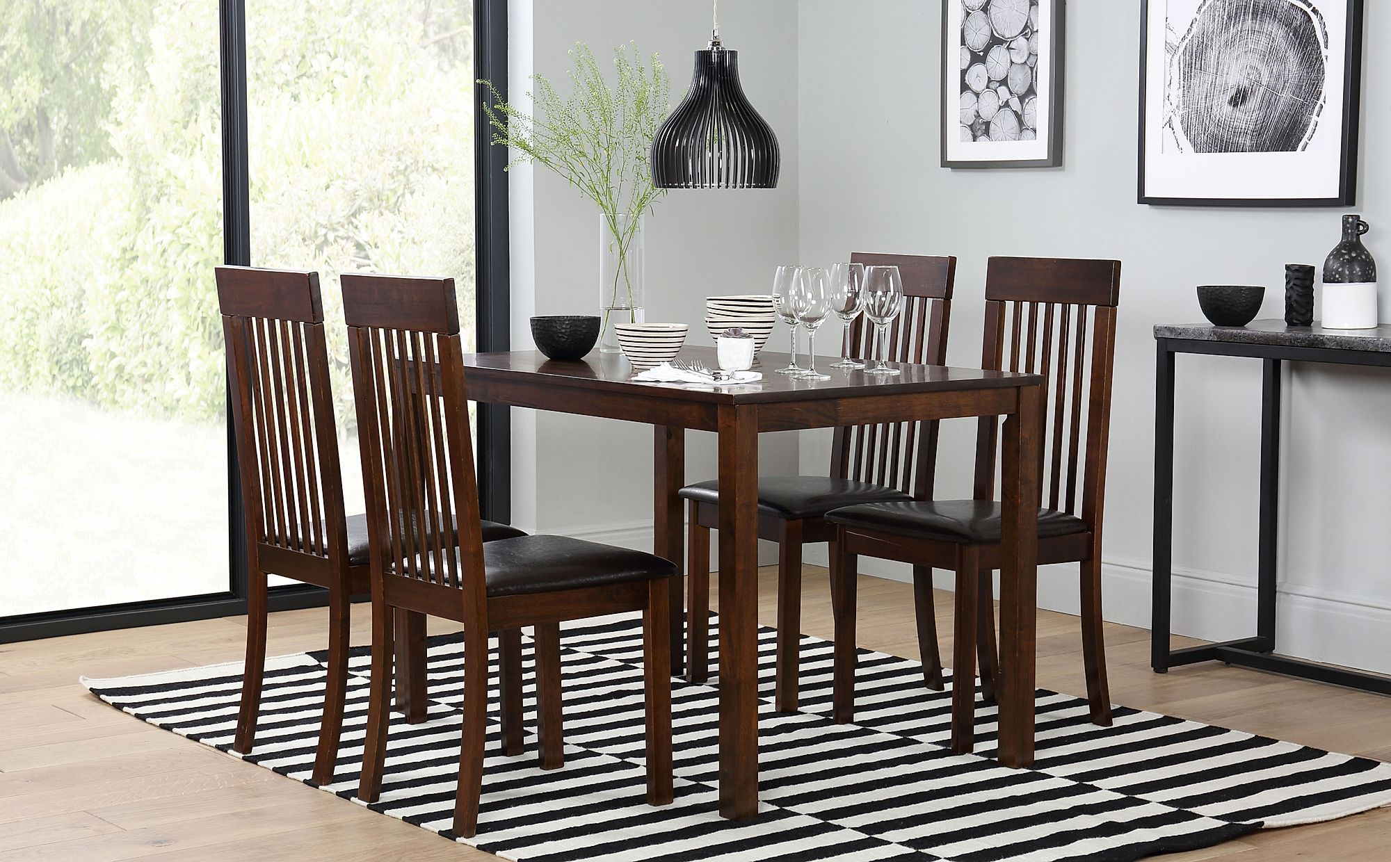 Milton Dark Wood Dining Table With 4 Oxford Chairs Brown Seat Pad