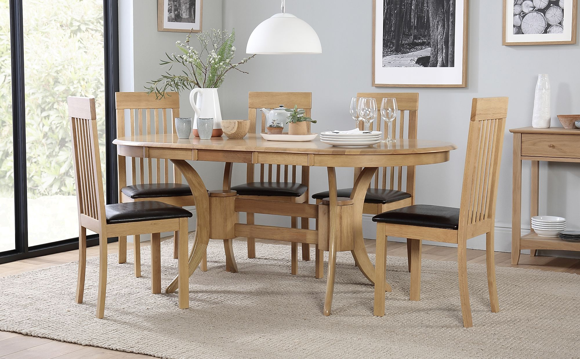 Townhouse Oval Oak Extending Dining Table with 6 Oxford ...