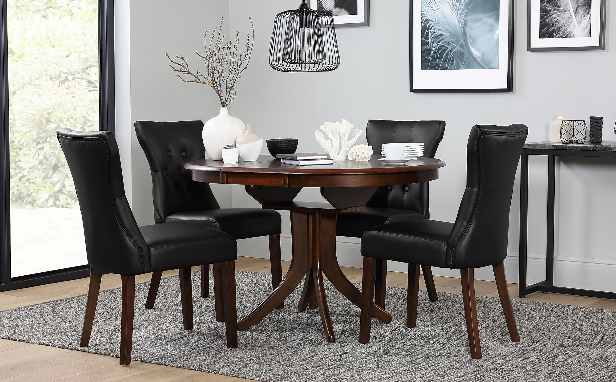 Magnificent Hudson Round Dark Wood Extending Dining Table With 6 Bewley Brown Chairs Onthecornerstone Fun Painted Chair Ideas Images Onthecornerstoneorg