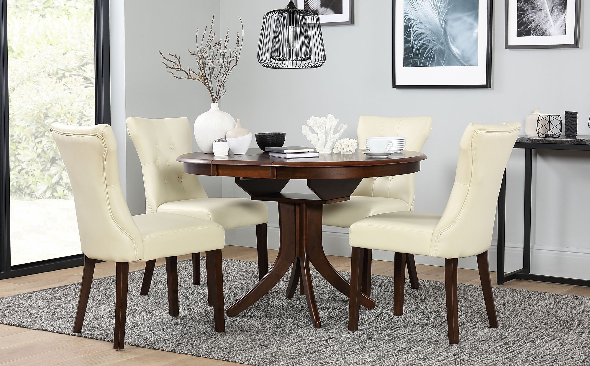 Outstanding Hudson Round Dark Wood Extending Dining Table With 6 Bewley Ivory Chairs Onthecornerstone Fun Painted Chair Ideas Images Onthecornerstoneorg