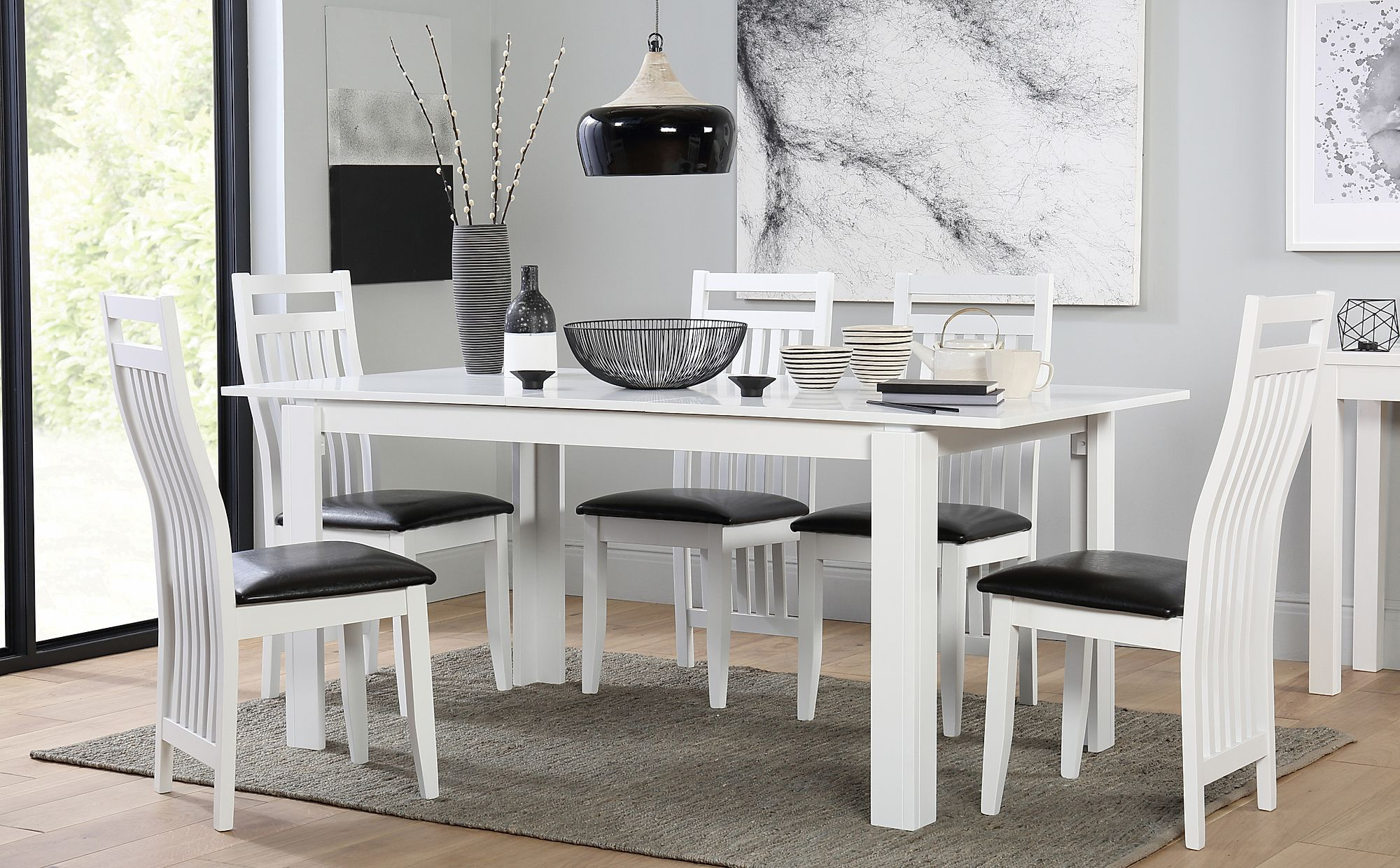 Aspen White Extending Dining Table with 6 Java Chairs ...