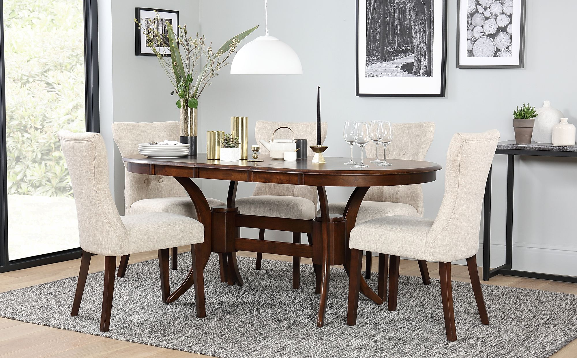 Awesome Townhouse Oval Dark Wood Extending Dining Table With 4 Bewley Oatmeal Chairs Onthecornerstone Fun Painted Chair Ideas Images Onthecornerstoneorg
