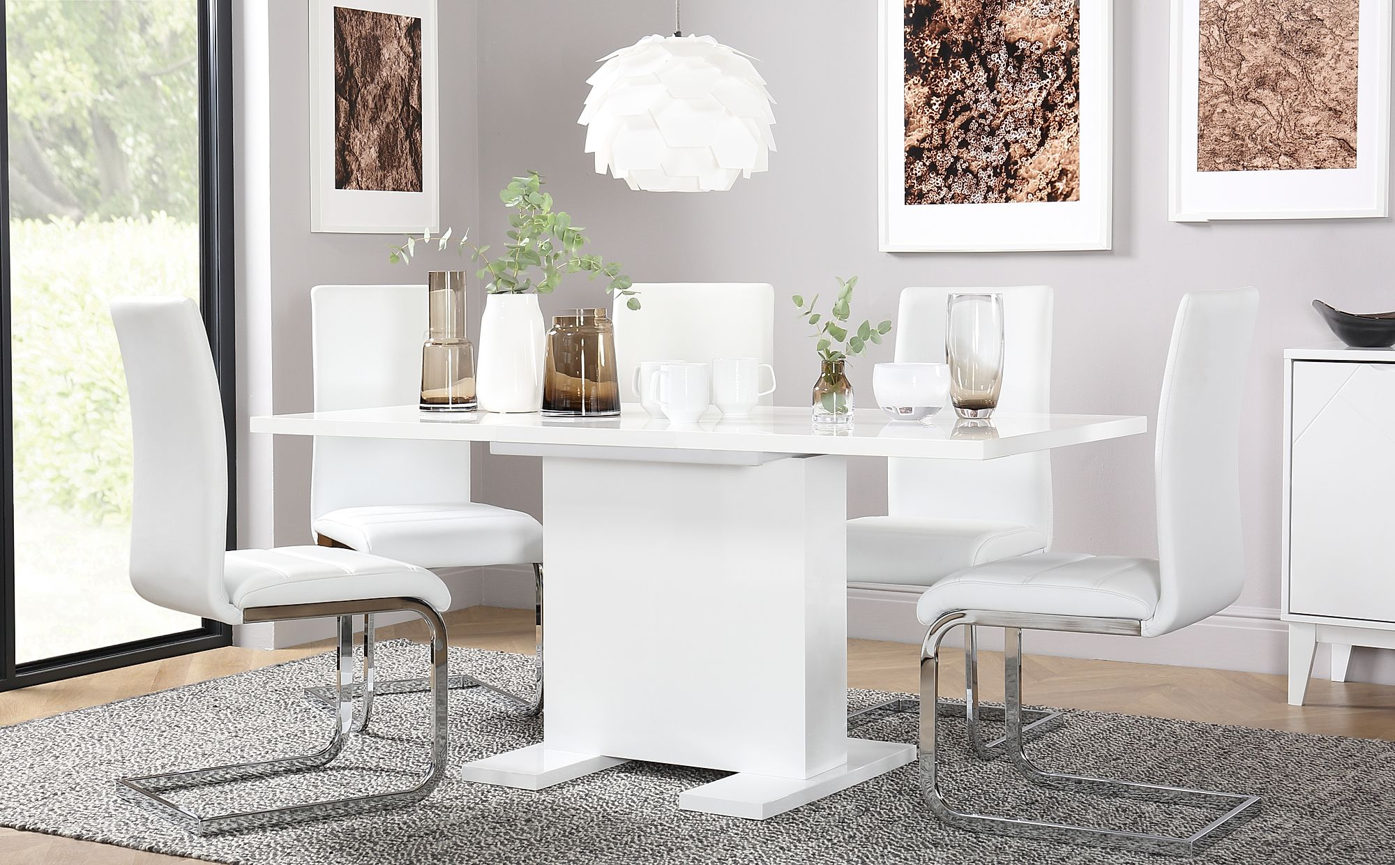 White Table And Chairs Set: Osaka White High Gloss Extending Dining Table And 4 Chairs
