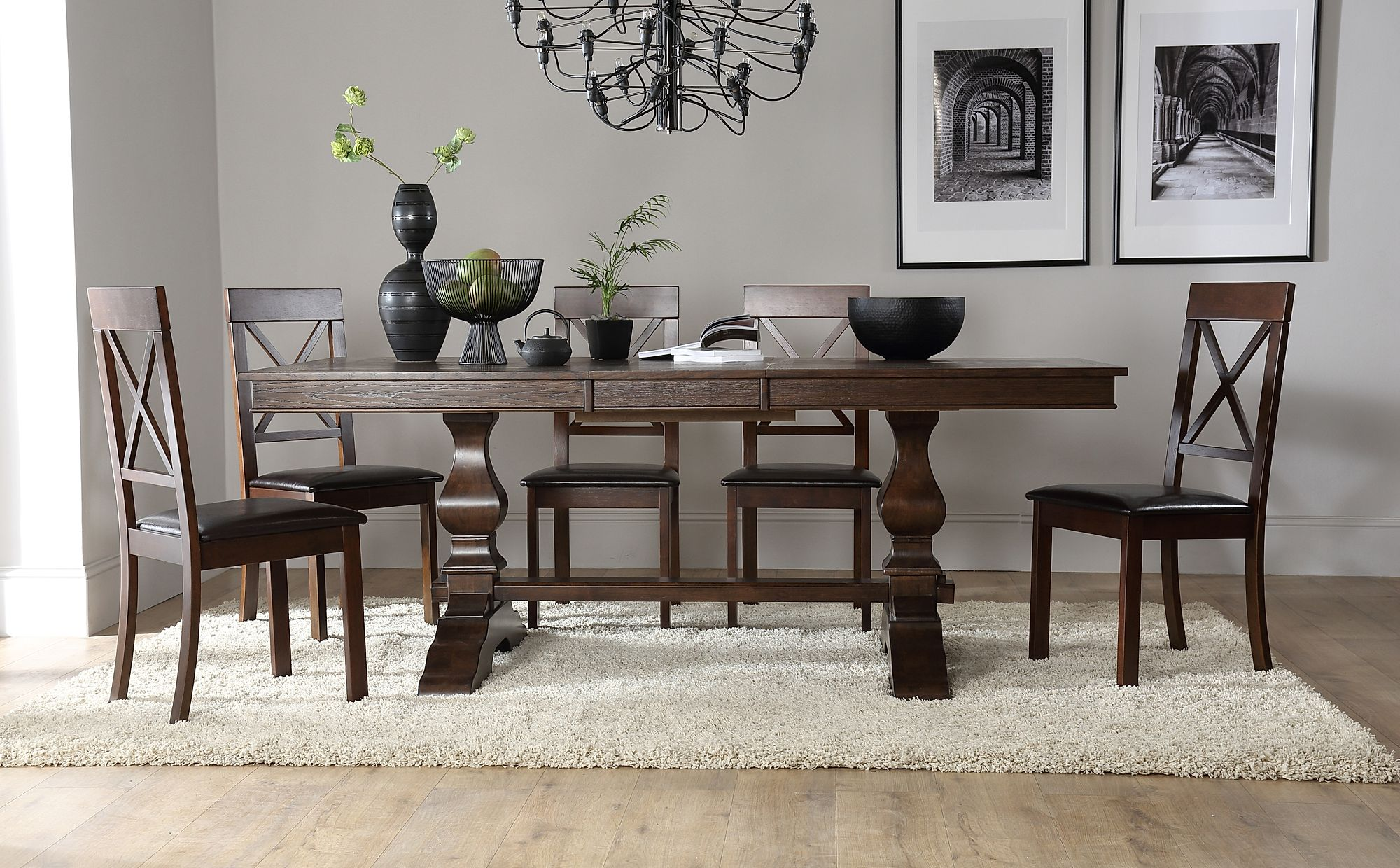 Cavendish Dark Wood Extending Dining Table With 8 Kendal