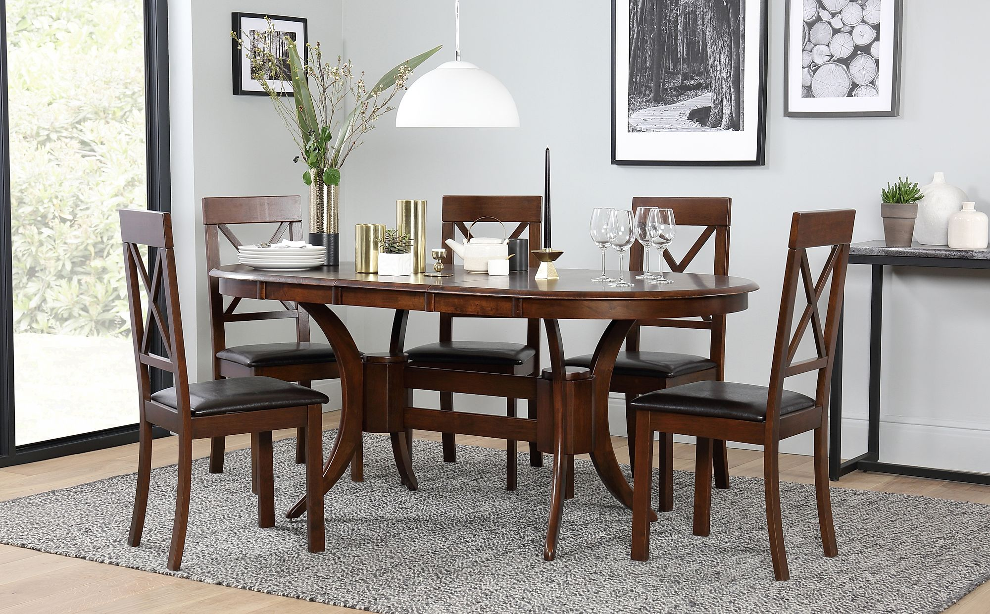 Townhouse Oval Dark Wood Extending Dining Table With 4