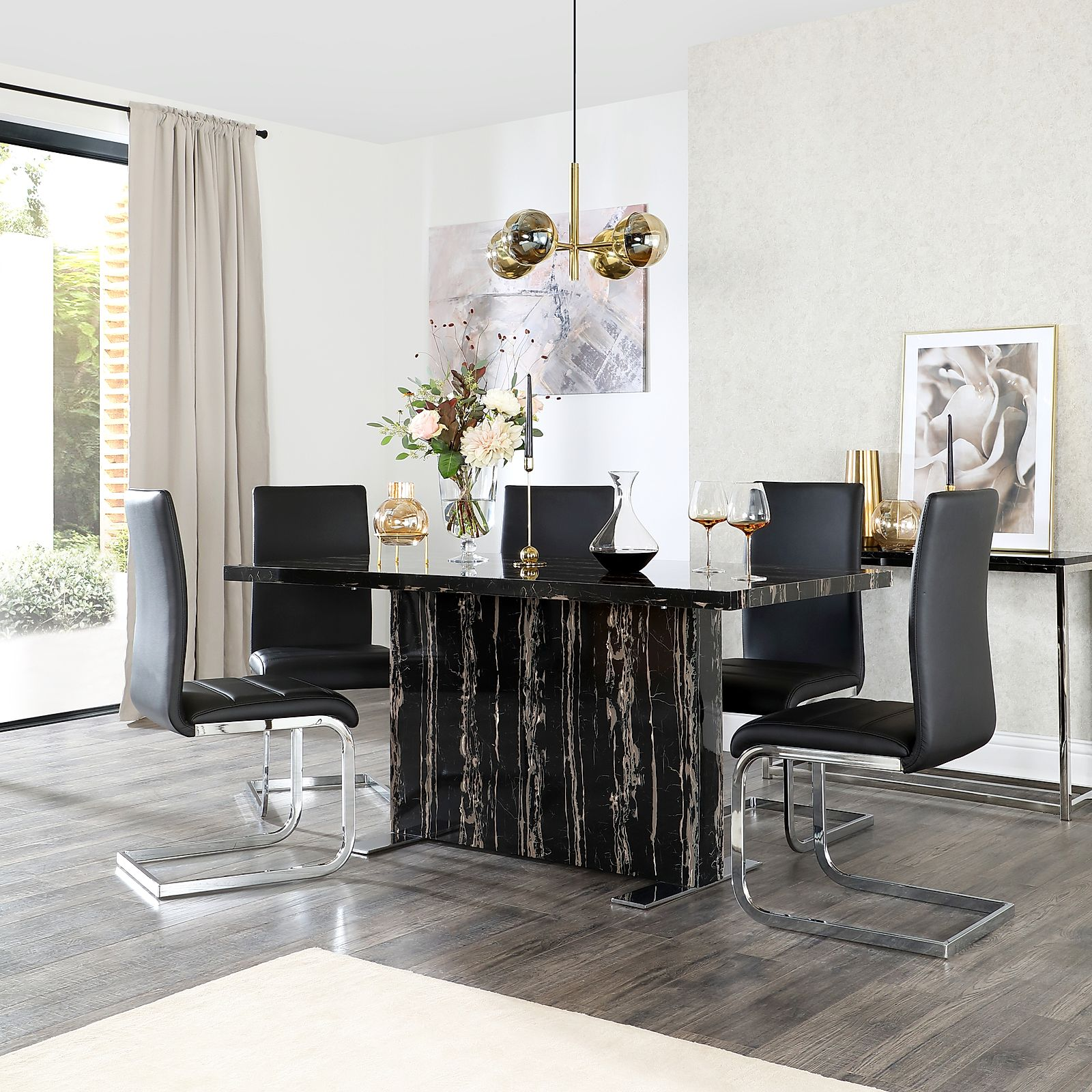 Magnus Black Marble Dining Table With 4 Perth Black Leather Chairs Furniture Choice