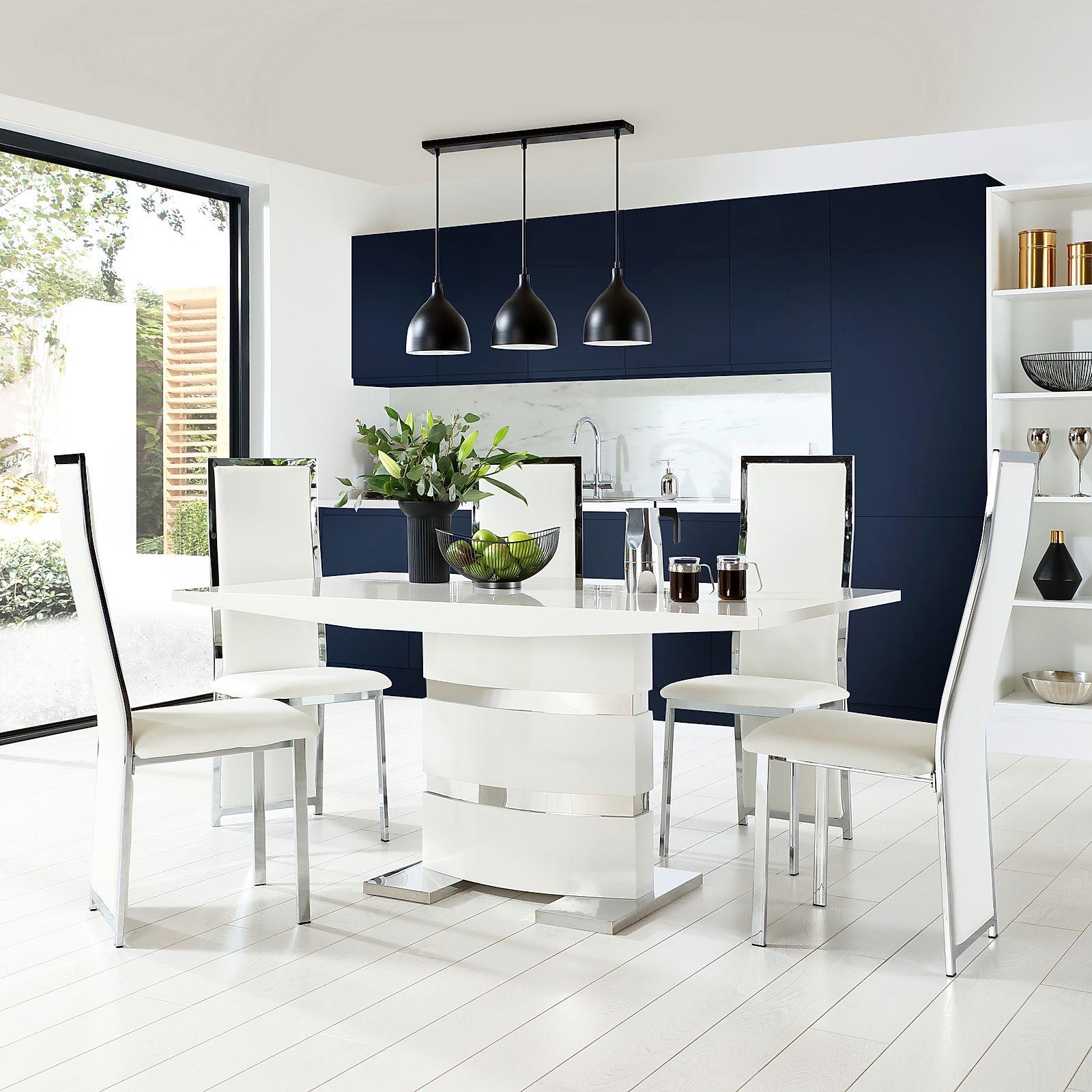 Komoro White High Gloss Dining Table With 6 Celeste White