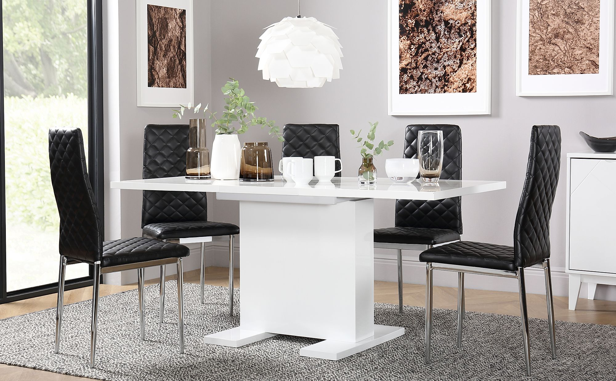 Osaka White High Gloss Extending Dining Table With 4 Renzo